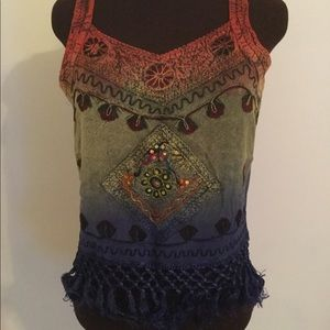 Tank style top with crocheted fringe  bottom